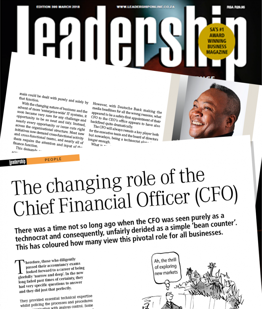 Leadership magazine the changing role of the chief financial officer cfo ren carayol - Chief financial officer cfo ...